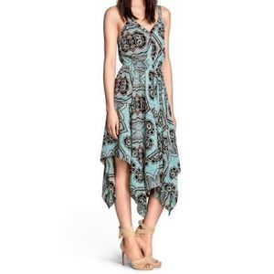 H&M Blue Floral Lotus Asymmetrical Midi Dress